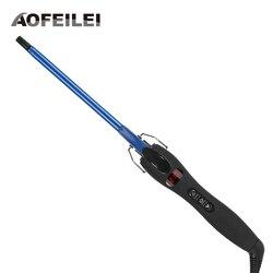 Aofeilei nueva llegada profesional 9mm rizador de pelo de hierro waver pera flor cono eléctrico rizador rodillo herramientas de estilo