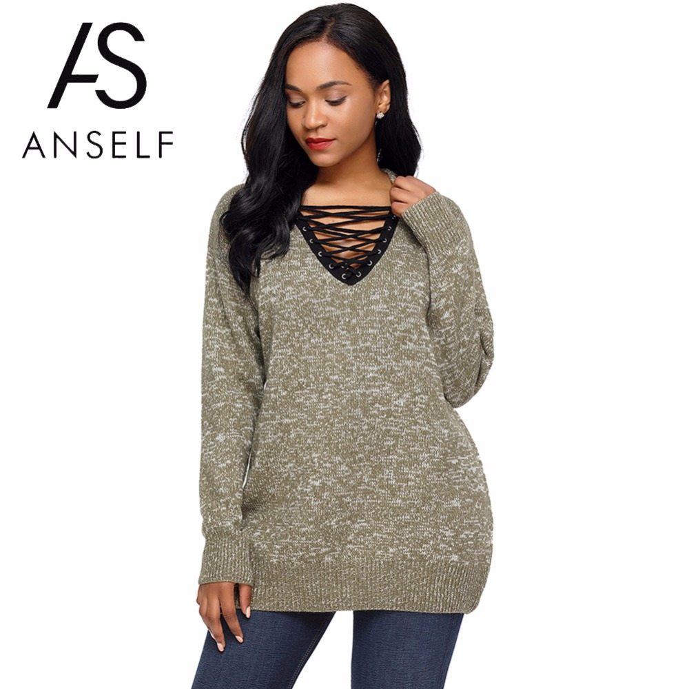 ANSELF Big Large Size Pullover Sweaters Women Knitted Lace ...