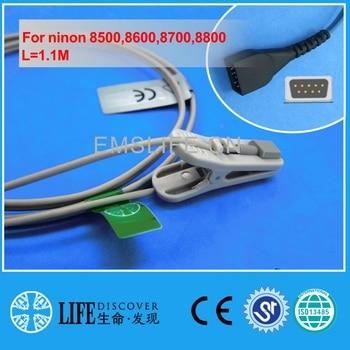 Short Cable Adult Ear Clip Spo2 Oxygen Sensor For Nonin 8500,8600,8700,8800