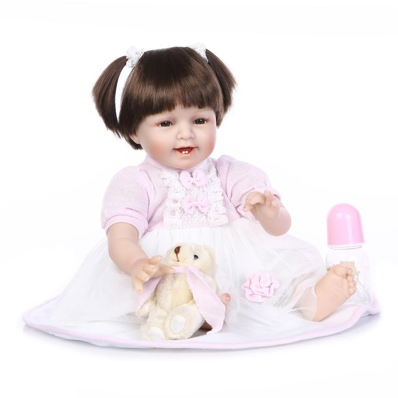 все цены на 55cm The new soft silicone reborn baby doll toys play house toy newborn smile girls babies birthday present bedtime sleep toy
