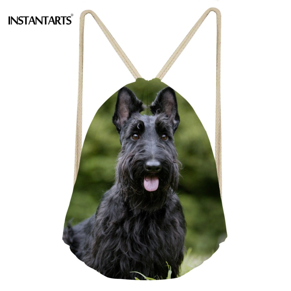 Instantarts Sport Bag For Women Men Fitness Yoga Shoes Woman' Drawstring Backpack Cute Animal Dog Scottish Terrier Print Bagpack Excellent (In) Quality