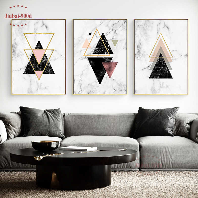 Nordic Marble Abstract Geometry Art Picture Canvas Painting Wall Pictures For Living Room Posters and Prints Wall Art SAN10-1