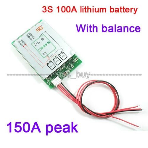 3S 12V BMS 100A 18650 lithium battery protection board with balance charging
