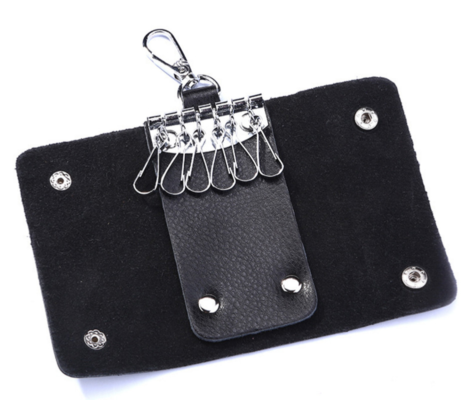 HUANILAI Key Bags For Men Black Genuine Leather Holder Keychain Key Case Cowhide Key Holder Bag Housekeeper DY05 in Key Wallets from Luggage Bags