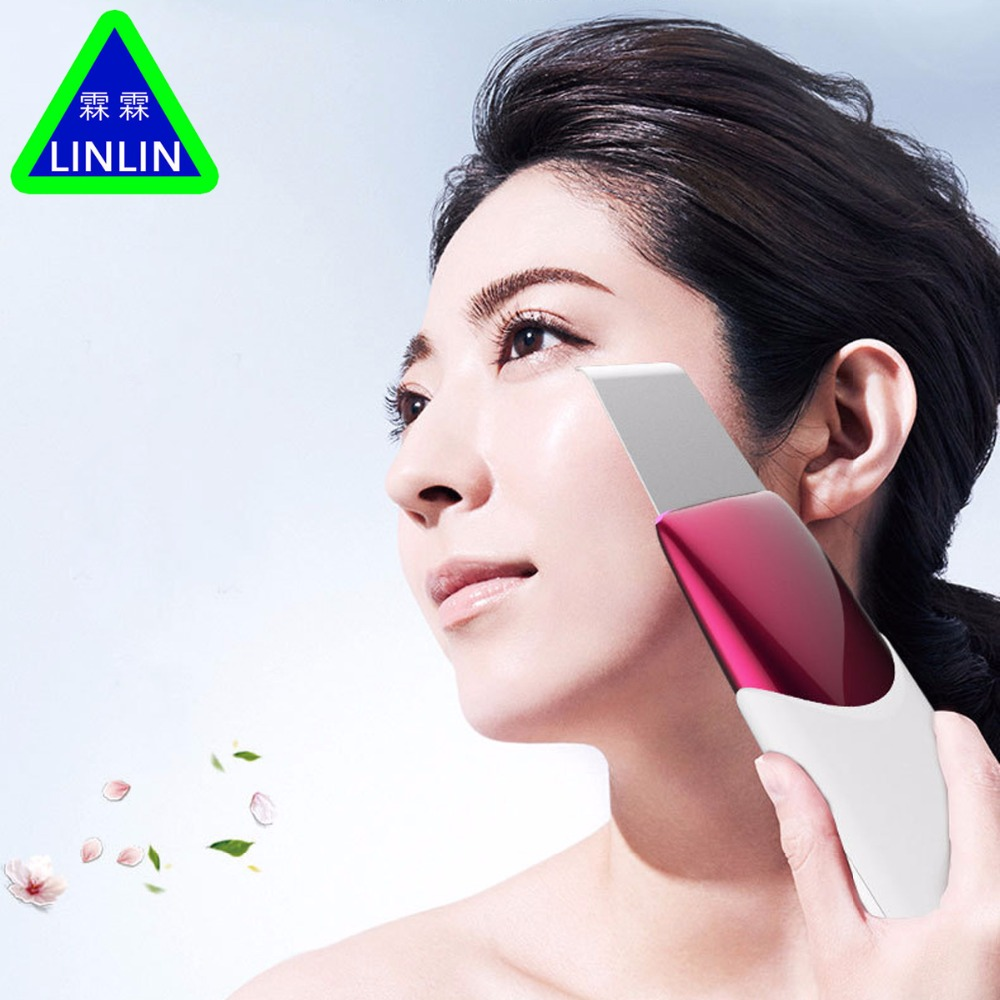 LINLIN Home Use Rechargeable Ultrasonic Galvanic Ion Skin Cleaning Skin Scrubber Peeling Facial Cleaner Massager Face Beauty 2017 ultrasonic face pore cleaner ultrasound therapy skin scrubber galvanic ion spa beauty device facial massager face lift mach