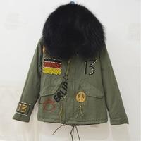 New design Germany flag Beading Short Parka Winter black fur Raccoon hood fur parka