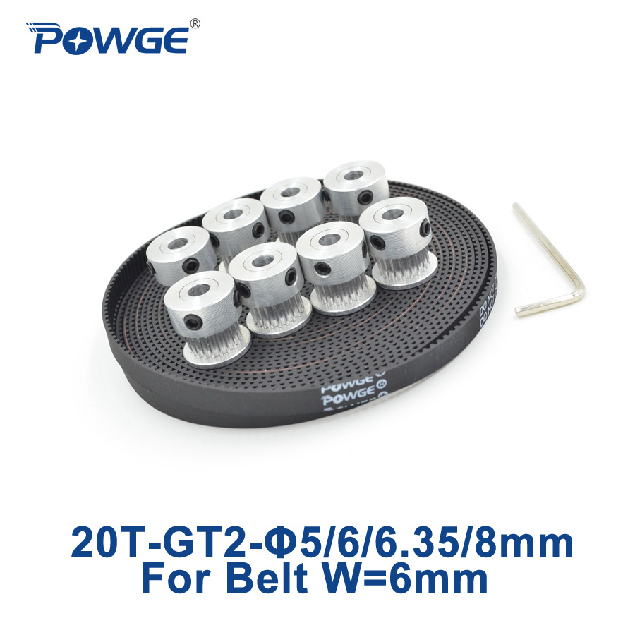 POWGE 8pcs 20 teeth GT2 Timing Pulley Bore 5mm 6mm 6.35mm 8mm + 5Meters width 6mm GT2 Synchronous 2GT Belt 2GT 20teeth 20T powge 8pcs 32 teeth gt2 timing pulley bore 5mm 6 35mm 8mm 5meters width 9mm gt2 open timing belt 2gt pulley belt 32teeth 32t