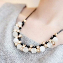 Опал кристалл ожерелье кулон модные шнурки корейский женский короткий параграф ключицы цепь