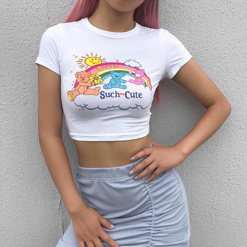 Харадзюку каваи мультфильм печати белая укороченная футболка женская летняя короткий рукав милый женский короткий топ Уличная Повседневная забавная футболка