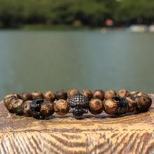New Design Stone Bracelet Men Women Popular Stone Bracelet Skull Micro Pave CZ beads Skull Male Bracelet Crown Zircon Bracelets