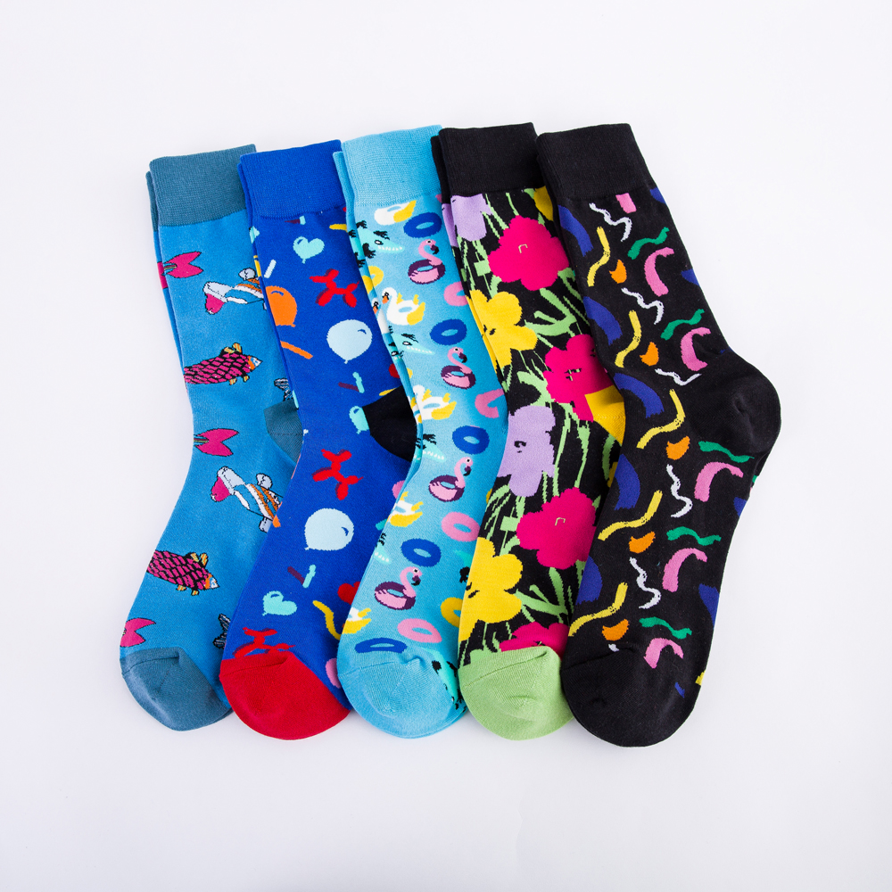 Colorful Men's Cotton Dress Funny Socks Novelty Casual Personality Design Hip Hop Street Wear Happy Wedding Socks Gifts For Male