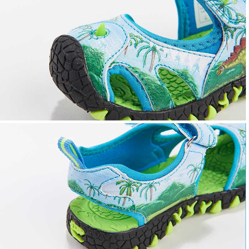 DINOSOLES ילדי בני סנדלי נעלי בני 2019 קיץ 3D דינוזאור ילדי סנדל חוף נעלי סנדל גודל 27-34 פעוט סנדלי
