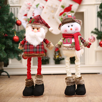 Christmas Tree Ornaments Retractable Christmas Santa Claus Snowman Dolls Standing Navidad Figurine For Kids Christmas Gifts Toy