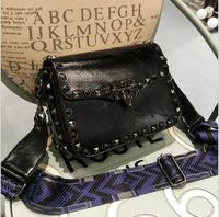 2017 SMALL PU Leather Handbags Rivet Small Square Bag Black Turquoise Locked Wide Shoulder Strap Messenger