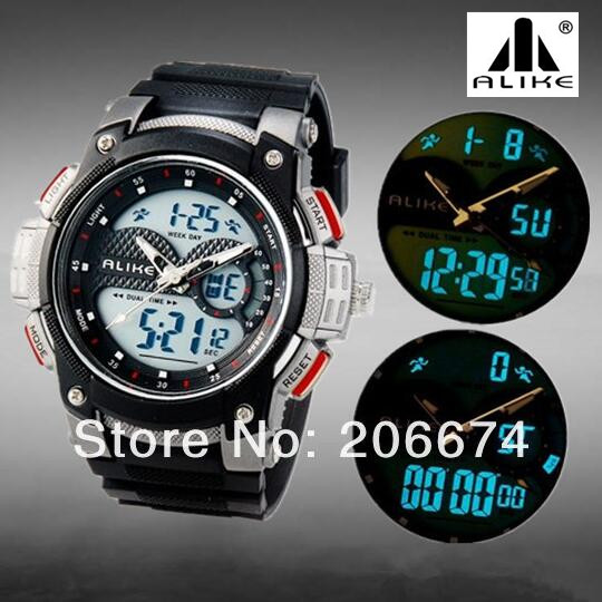 NEW Dual Movement Round Analog & Digital 50M Waterproof Sports Watch For Men and Students