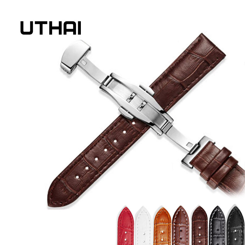 UTHAI Z09 Genuine Leather Watchbands 12-24mm Universal Watch Butterfly buckle Band Steel Buckle Strap Wrist Belt Bracelet + Tool(China)