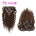#4 brawn color 7/8pcs Brazilian clip in Deep Curly hair 14-26 inches clip in human hair extensions 100% brazilian virgin hair