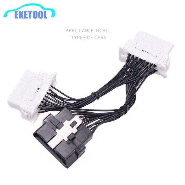 Kwaliteit Een Nieuwste Obd 2 Y Splitter Verlengkabel OBD2 16PIN Man vrouw ELM327 Elektronische Draad Connector