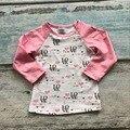 Niñas bebés ropa raglan tops v-day raglán girls pink love heart raglans Otoño top niñas de San Valentín día de formación de hielo raglans camiseta