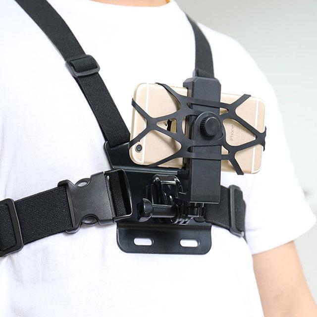 חזה רצועת הר w/טלפון קליפ/סוגר עבור טיפוס/סקי/רכיבה על אופניים 360 תואר לסובב עבור iPhone huawei סמסונג Gopro אבזר