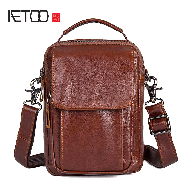 AETOO New men retro first layer cowhide male shoulder bag package diagonal package qiaobao 2018 new korean version of the first layer of women s leather packet messenger bag female shoulder diagonal cross bag