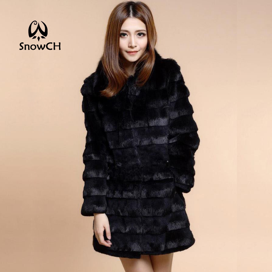 2018 New Genuine Rabbit Fur Coat With Fox Fur Collar Women Rabbit Fur Jacket Winter Fur Waistcoats Custom Big Size F928