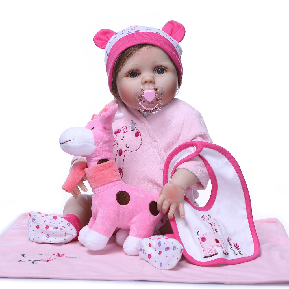 Nicery 22inch 55cm Bebe Reborn Doll Hard Silicone Boy Girl Toy Reborn Baby Doll Gift for Children Pink Blanket Giraffe Doll nicery 18inch 45cm reborn baby doll magnetic mouth soft silicone lifelike girl toy gift for children christmas pink hat close