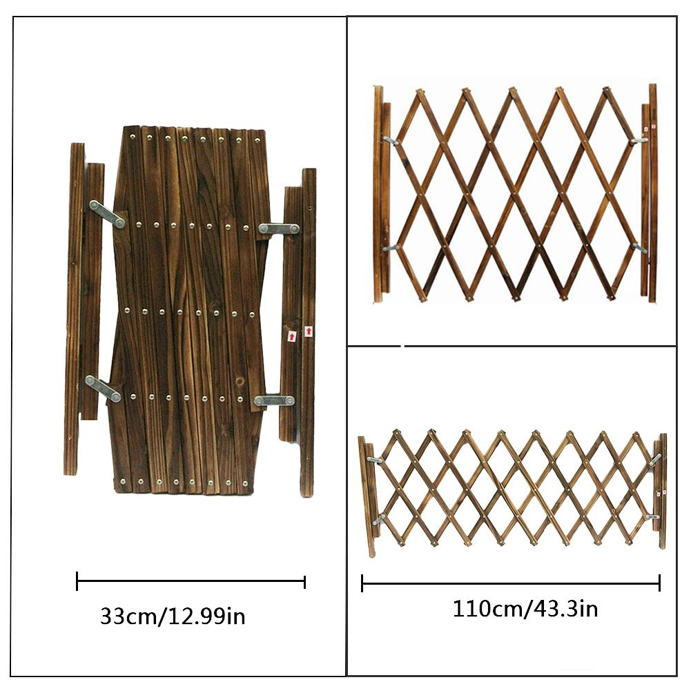 Expanding Portable Wooden Fence Safety Gate Child Dog Cat Barrier Brown Portable