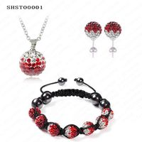 Gorgeous Shamballa Set Pendant Necklace Earrings Bracelet Set AB Clay Ball Gradient Crystal Beads Shamballa Set