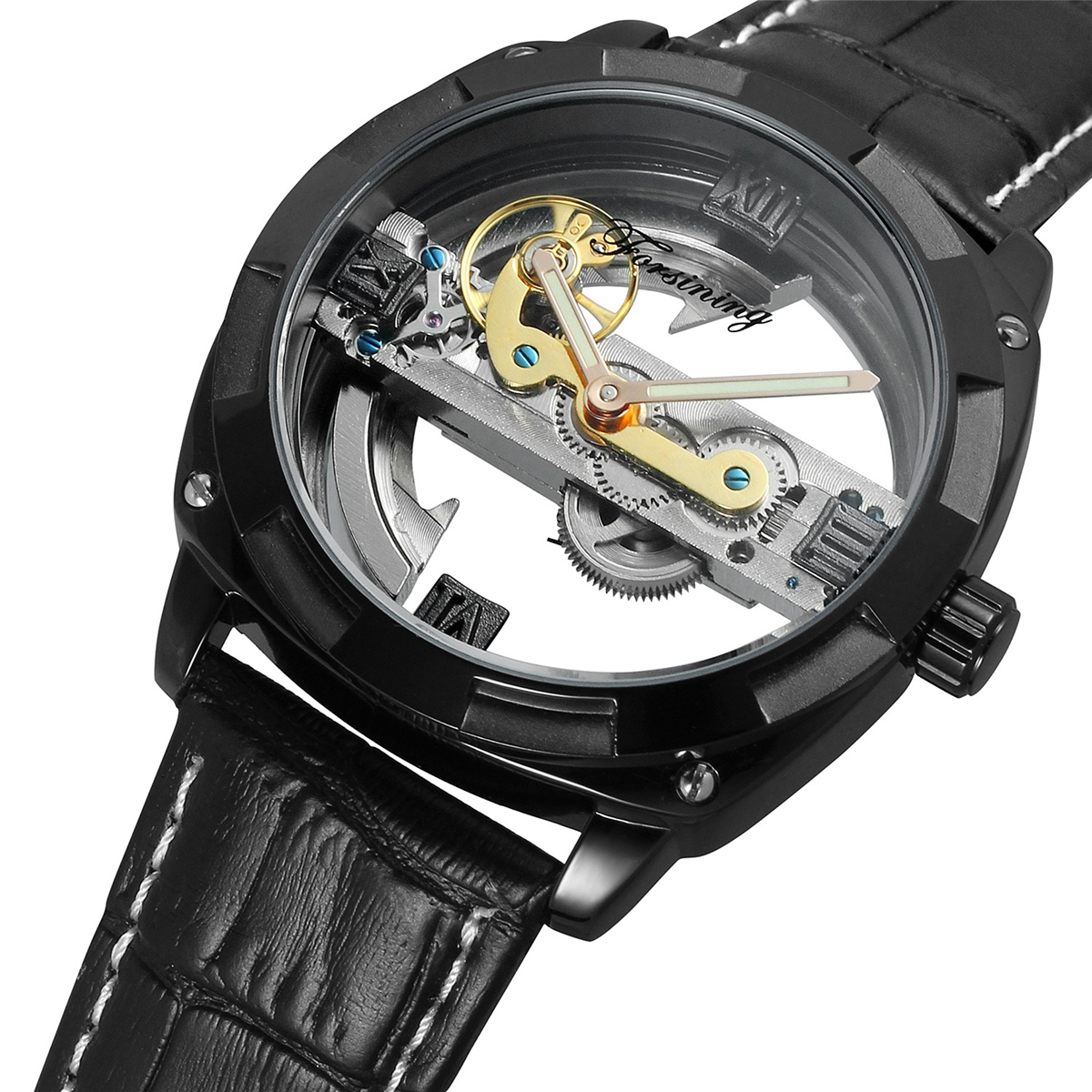 Forsining Luxury Brand Transparent Men Mechanical Watch Gold Skeleton Automatic Watches Mens Wristwatch Black Leather Band Clock