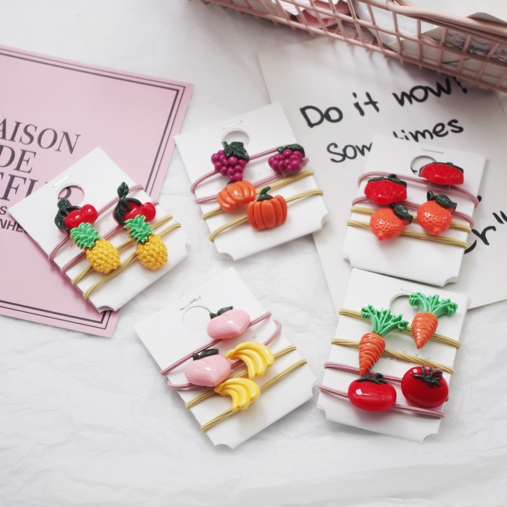 4PCS New Cartoon Vegetables Fruits Elastic Hair Bands Baby   Headwear   Girls Hair Accessories Tie Hair Ropes Children Headdress