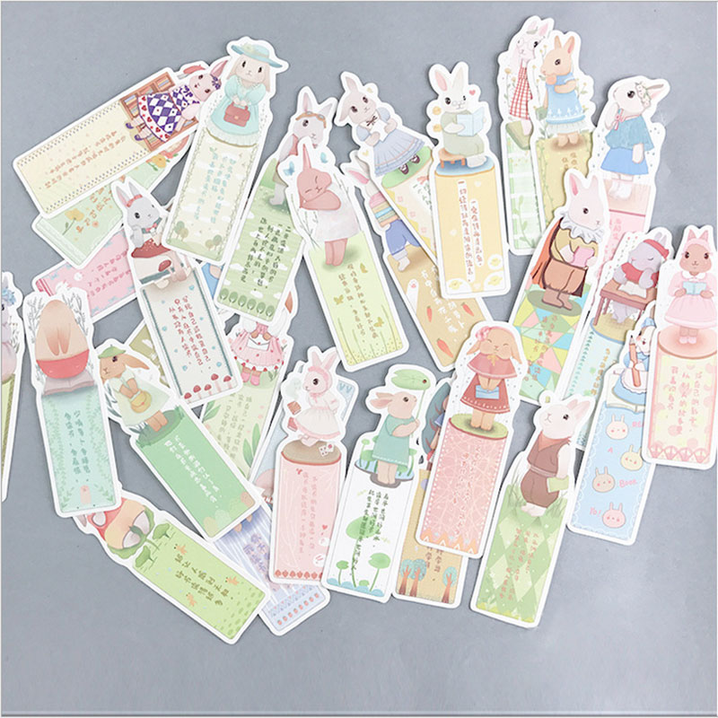 Купить с кэшбэком 30pcs/box Creative rabbit lives paper bookmark cute bookmarks book holder message card Graffiti DIY school supplies papelaria