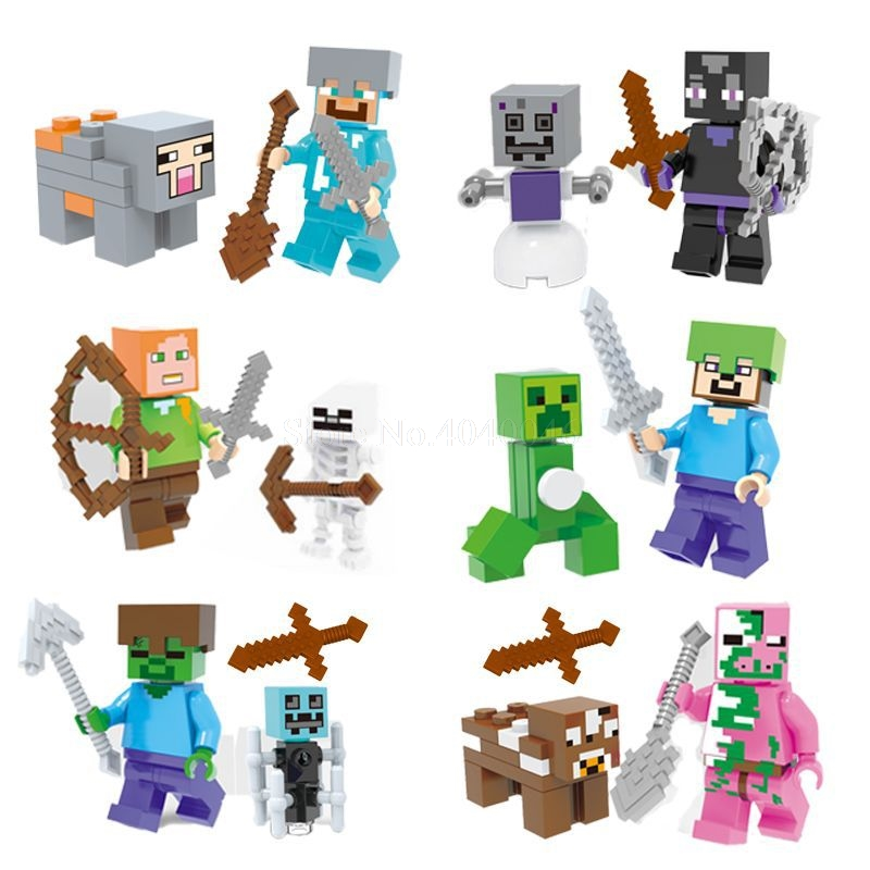 Legoing Minecraft Figures Blocks My World Zombie Steve Wither Toy Model Action Figure Toys For Children Minecraft Legoings Block 1