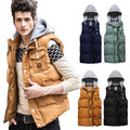 hot sale New 2014 mens casual jackets winter brand waistcoat big size cotton vest tank hood detachable collarinstylesinstyles