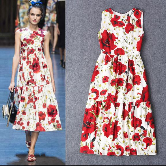 Women Summer Sweet Flower Print Cotton Dress Ladys Casual Plus Size