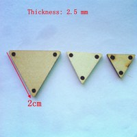 1000pcs/lot 3 holes Blank unfinished wooden triangle crafts supplies laser wood Wedding decoration would DIY accessories 2cm 001