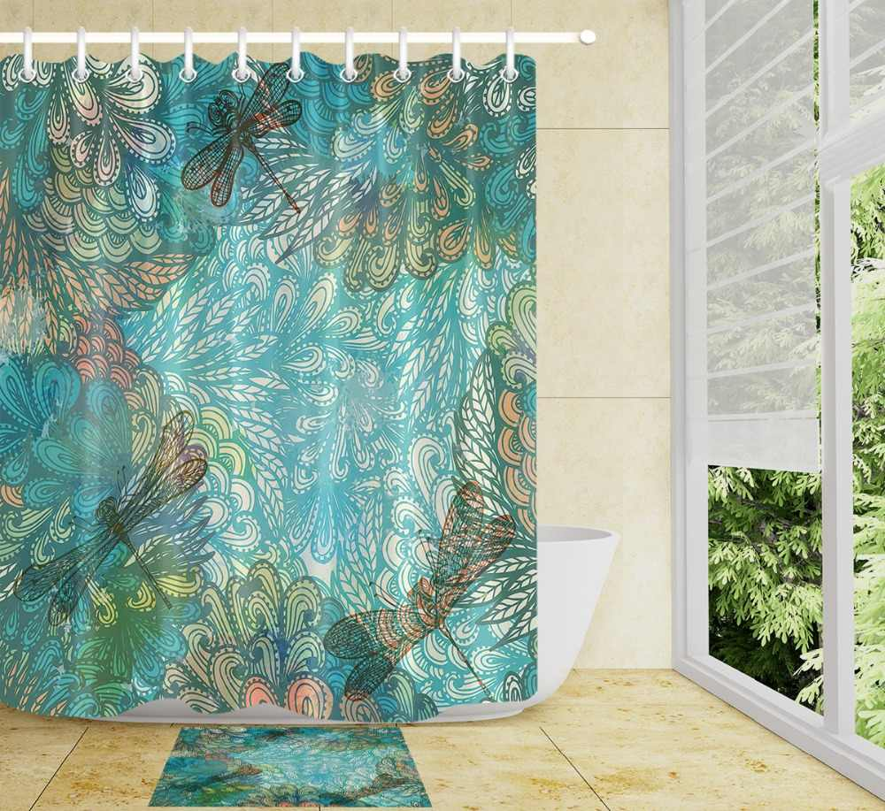 Water Surface Cartoon Dragonfly Green Leaf Shower Curtain Bathroom Curtain Waterproof Polyester Fabric for Bathtub Home Decor