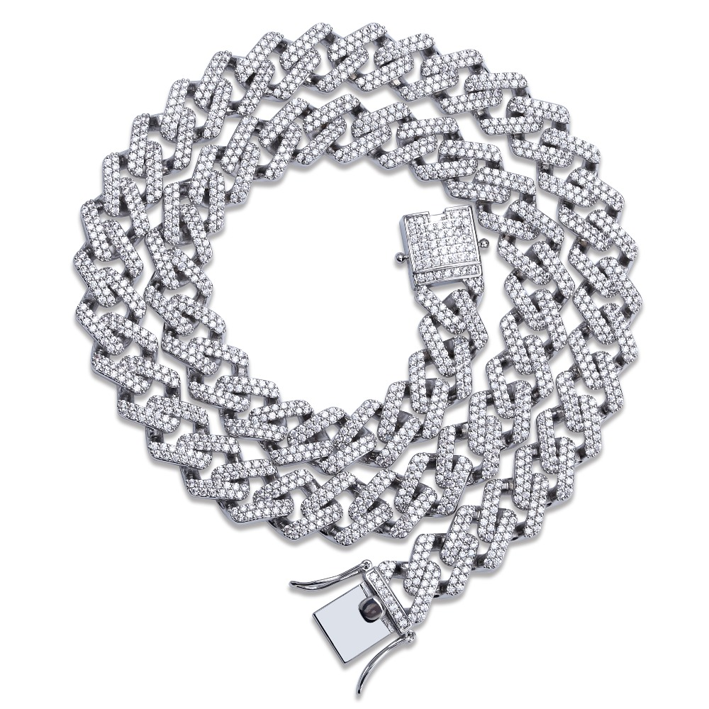 14mm Miami Prong Set Cuban Chains Necklace For Men Gold Silver Color Hip Hop Iced Out Paved Bling CZ Rapper Necklace Jewelry chain
