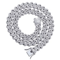 14mm Miami Prong Set Cuban Chains Necklace For Men Gold Silver Hip Hop Iced Out Paved Bling CZ Rapper Necklace Jewelry