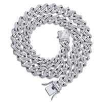 14mm Miami Prong Set Kubanischen Ketten Halskette Für Männer Gold Silber Farbe Hip Hop Iced Out Gepflastert Bling CZ rapper Halskette Schmuck