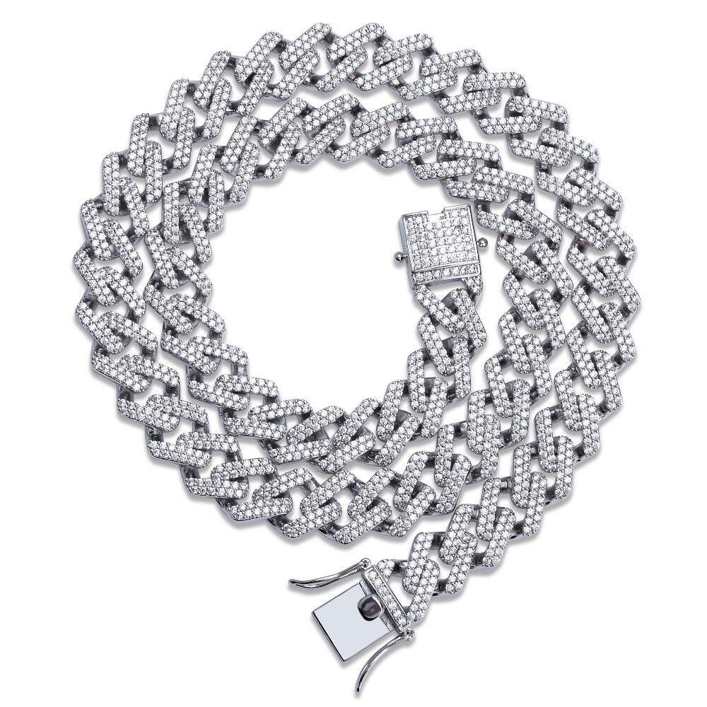 14mm Miami Prong Set chaînes cubaines collier pour hommes or argent Hip Hop glacé pavé Bling CZ rappeur collier bijoux
