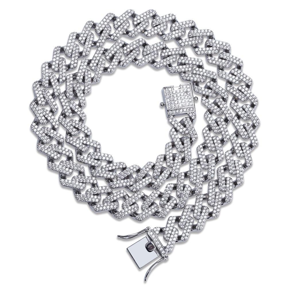 5adf5bb1e531 14mm Miami Prong Set cubano cadenas Collar para hombres de plata de ...