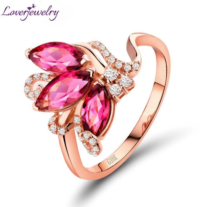 Nouveau Marquise Forme Rose Tourmaline Anneau, Naturel Diamant Solide 18 k Or Rose Bague de Fiançailles Pour Vente SR00133