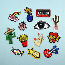 1PC Embroidered Cartoon Patches For Clothes Stickers Iron On Applique DIY Apparel Sewing Clothing Accessories BU1