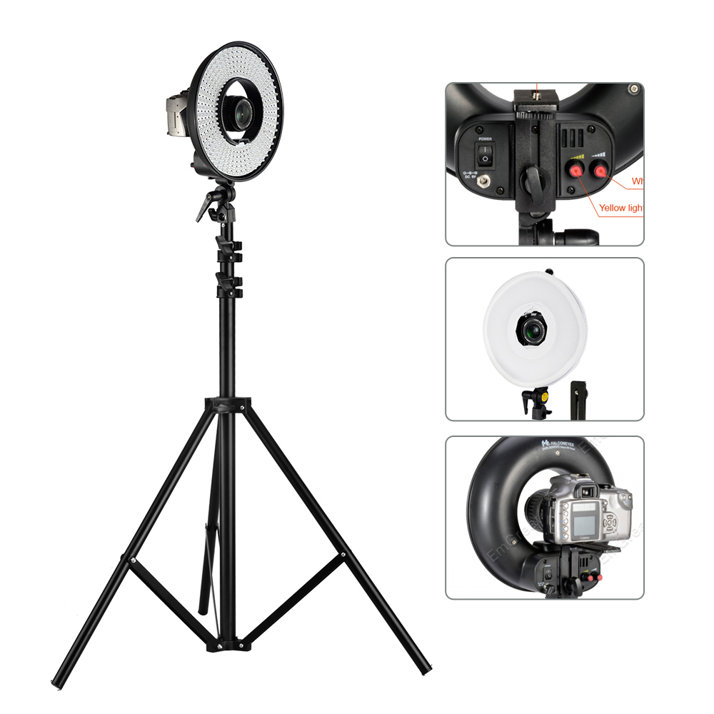 FalconEyes 300 LED Ring Video Studio Light w/ Diffuser Dimmable 3000K-7000K Wonderful Effect for Eyes Light Shadow Less + Stand falconeyes super power 630 led ring light video light battery pack mv ad2 np f970 battery holder light stands