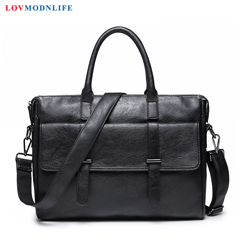 Leather Briefcases Computer Bags For Men Business Laptop Shoulder Bag Casual Man Messenger Tote Bags Men's Handbags On The Belt