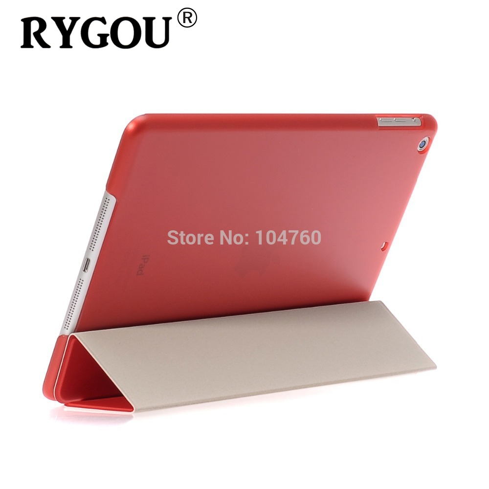 все цены на RYGOU For Apple ipad Air Case Ultra Slim intelligent protection one-piece Magnetic Smart Cover Back Case for iPad Air 1, 2013 онлайн