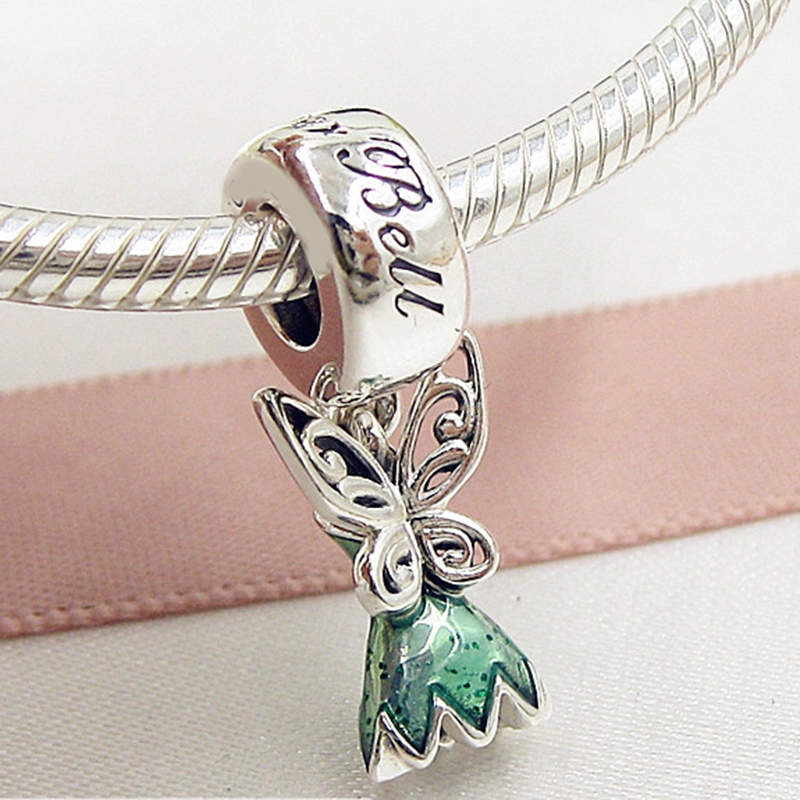 New bead Fit Original Pandora Bracelets 925 Sterling Silver Tinker Bell\'s Dress Glittering Green Enamel Charm Spring Diy Jewelry (5)
