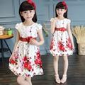 2016 лето детская одежда девочек платья отпечатано с коротким рукавом девушка платье для девочек большие дети цветочный платье принцессы