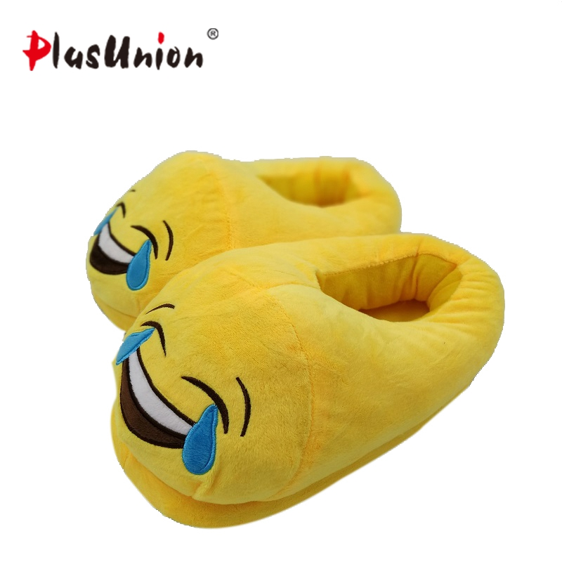 cry emoji cartoon flock flat plush winter indoor slippers women adult unisex furry fluffy rihanna warm home slipper shoes house